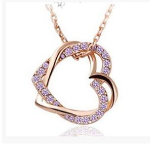 Jewelry - Pink Austria Crystal Silver Double Heart Necklace